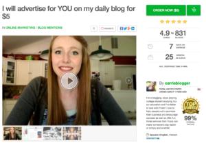 Carrie Blogger Sponsored Post on Fiverr